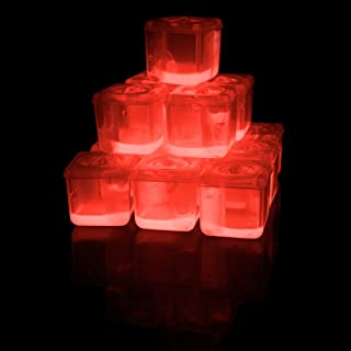 Fun Central 24 Pack - LED Light-Up Ice Cubes - Glow Cubes for Valentines Day, Wedding, Bar and Night Party Supplies BPA Free - Red