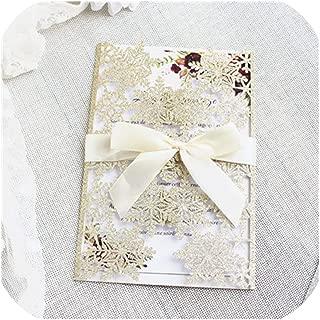 Laser Cut Snowflake Invitations Rose Gold Silver Bling Wedding Invitation Set Customized Printing 50pcs,Gold,Laser Cut Card