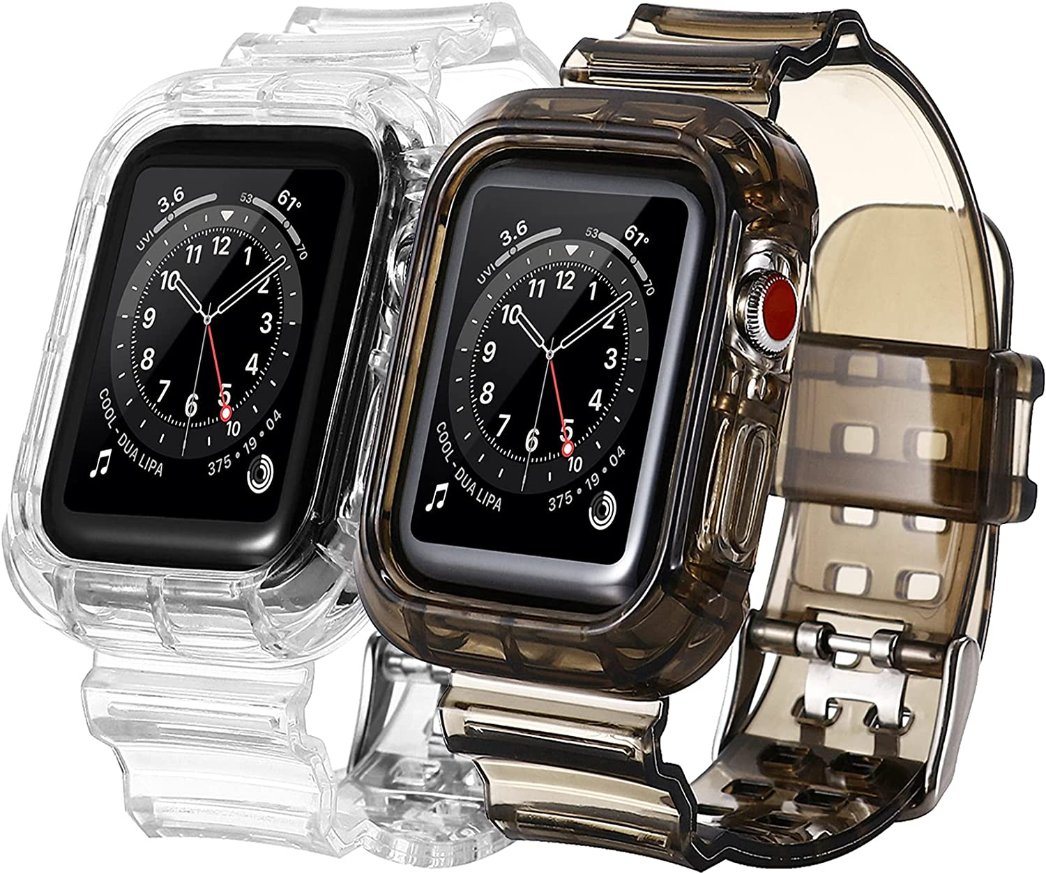 [2 PACK] Bands Compatible with Apple Watch Bands 42mm 44mm for Women Men, Transparent Clear Sports iWatch Bands with Bumper Case Replacement for Apple Watch SE & iWatch Series 6 5 4 3 2 1