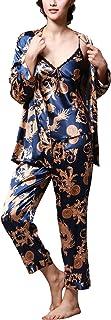 Pijamas para Mujer, Pijamas Mujer Invierno, 3-in-1 Mujer Camisones, Satén Suave y cálido Manga Larga y Pantalones Largos, Mujer Largo Camisones Raso Satin Pijamas