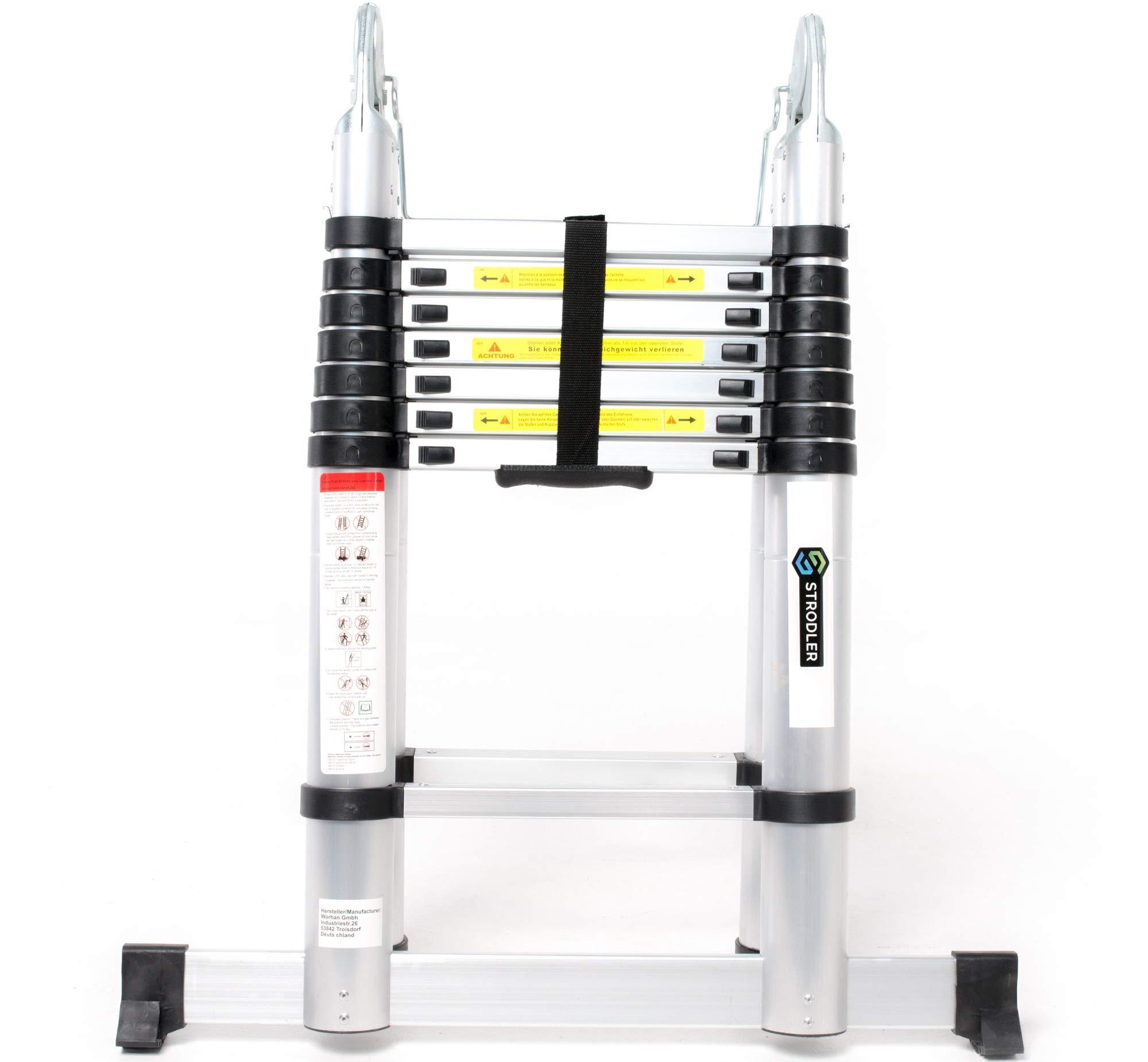 Escalera telescópica STRODLER® 5m Extensible Tijera Plegable de Aluminio Portátil Ligera: Amazon.es: Bricolaje y herramientas