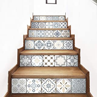 AMAZING WALL AmazingWall Arabic Style Stair Sticker Faux Tile Decal Furniture Mural Decor Kitchen Bathroom Wallpape 7.1x39.4 6PCS/Set