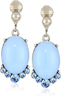 1928 Jewelry Women's Pewter Tone Light Blue Moonstone and Crystal Accent Clip Oval Drop Earrings, Blue, One Size