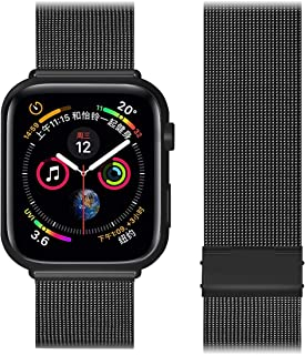 AGANSTRP Compatible for Apple Watch Band 38mm 40mm 42mm 44mm, Stainless Steel Mesh Loop Bands with Adjustable Magnetic Closure Replacement for Iwatch Series 5 4 3 2 1