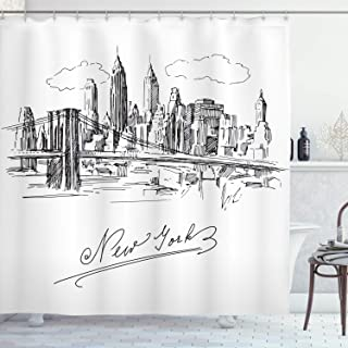 Ambesonne NYC Decor Collection, New York Contemporary Business Metropolis Corporate Town monochromic Sketch , Polyester Fabric Bathroom Shower Curtain Set with Hooks, Black White