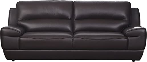 American Eagle Furniture Stratton Collection Italian Grain Leather Living Room Sofa with Pillow Top Armrests, Dark Brown