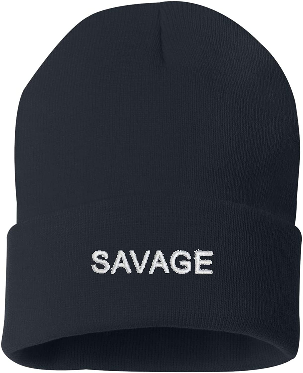Go All Out Adult Savage Embroidered Knit Beanie Pom Cap