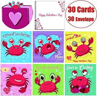 Valentine Day Cards Bookmarks Scratch and Sniff Packs for Kids Classmates Exchange Party Favor 3D Crab with Envelopes