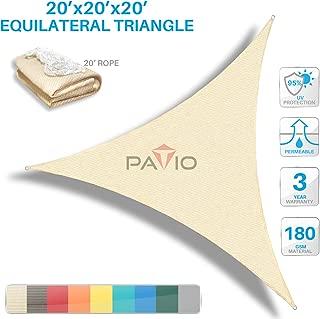 Patio Paradise 20' x20'x 20' Beige Sun Shade Sail Triangle Canopy - Permeable UV Block Fabric Durable Outdoor  - Customized Available