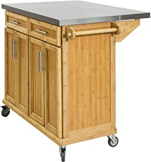 SoBuy FKW69-NCarrito de Cocina con Piso de Acerocon Tablero Extensible Carrito de Servir de bambúL115 x P46 x H92cmES