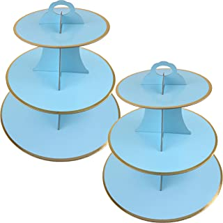 3-Tier Cardboard Cupcake Stand/Tower 2-Set (Blue)