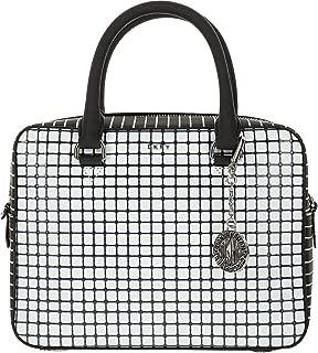 DKNY Bryant Genuine Leather Checkered Grid Satchel Purse