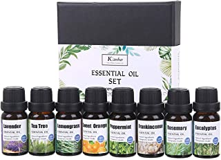 iSobo 100% Pure Therapeutic Grade Essential Oils Set    Peppermint/Tea Tree/Rosemary/Lemongrass/Lavender/Eucalyptus/Frankincense/Sweet Orange Best For Oil Diffuser, Massage, soap and facial cream