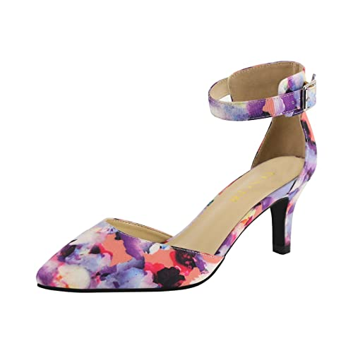 7f3da2c3149 Eunicer Women s Ankle Strap Pointed Toe Low Heel Stiletto Dress Pump Shoes  (Half Size Large