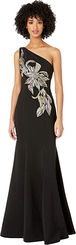 One Shoulder Stretch Crepe Gown with Beaded Embroidered Appliques