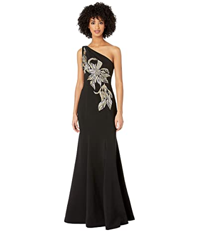 Marchesa Notte One Shoulder Stretch Crepe Gown with Beaded Embroidered Appliques (Black) Women