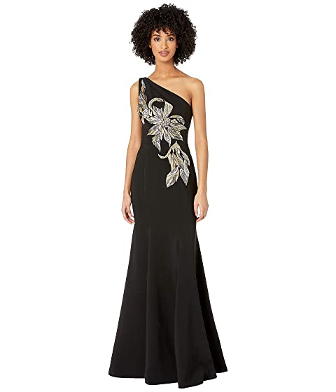 Marchesa Notte One Shoulder Stretch Crepe Gown with Beaded Embroidered Appliques