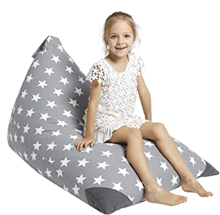 Aubliss Stuffed Animal Storage Bean Bag Chair - Plush Animal Toy Organizer for Kids, Girls and Children   Extra Large   23 Inch Long YKK Zipper   Premium Cotton Canvas