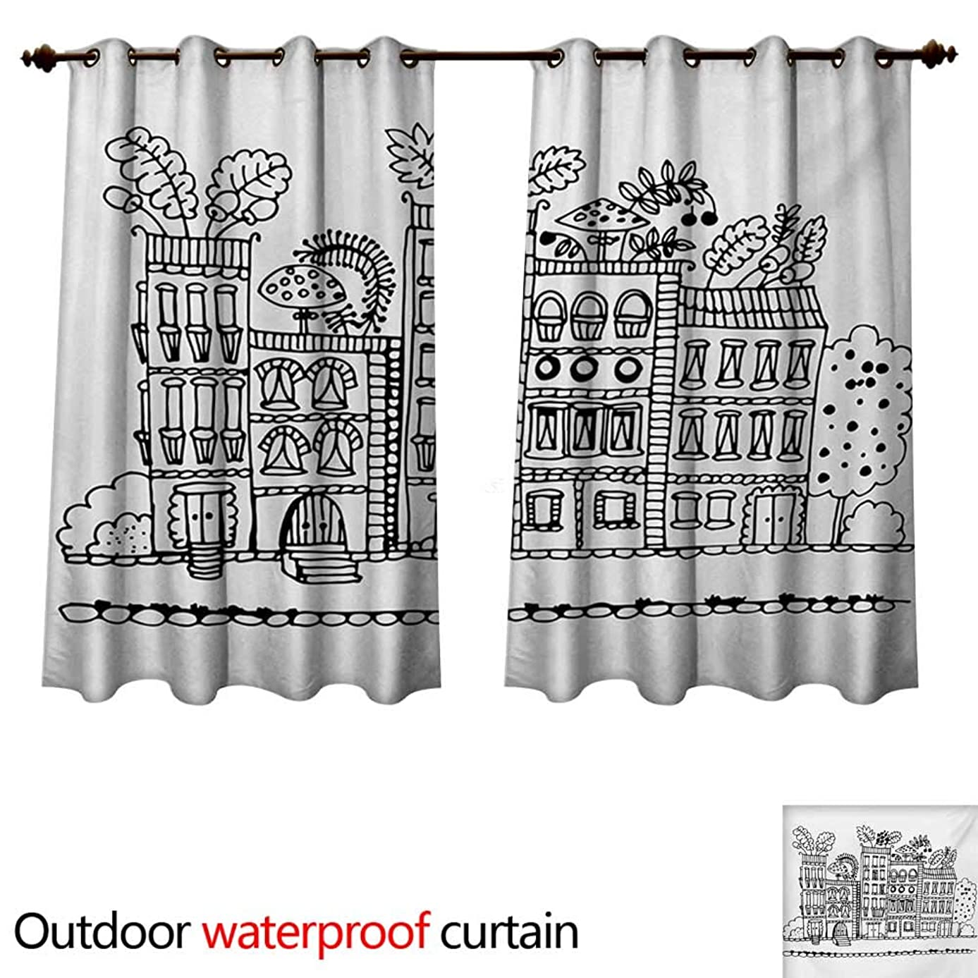 WilliamsDecor Modern 0utdoor Curtains for Patio Waterproof Sketchy Hand Drawn Cartoon Style House Apartment Trees Kids Nursery Theme Print W55 x L72(140cm x 183cm)