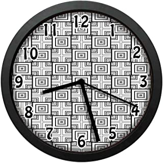 Geometrical Pattern with Overlapping Squares and Optical Illusion Effect,Black White Wall Clock Nice for Gift or Office Home Unique Decorative Clock Wall Decor 10in with Frame