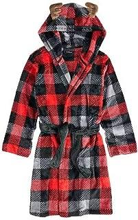 Boys Christmas Reindeer Red Buffalo Plaid Fleece Hooded Winter Bath Robe(12/14), Red/Black