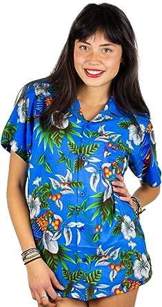 VHO Funky Camisa Hawaiana con Blusa Mujer de Manga Corta con Bolsillo en la Parte Delantera Corte de Novio Camiseta Hawaiana Cherry Parrot Unisex