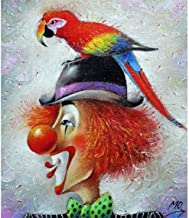 5D DIY Make kit Round Diamond Painting by Number 40X50cm,Clown Cross Stitch Kit Rhinestone Embroidery Art for Home Decor Living Room Frameless