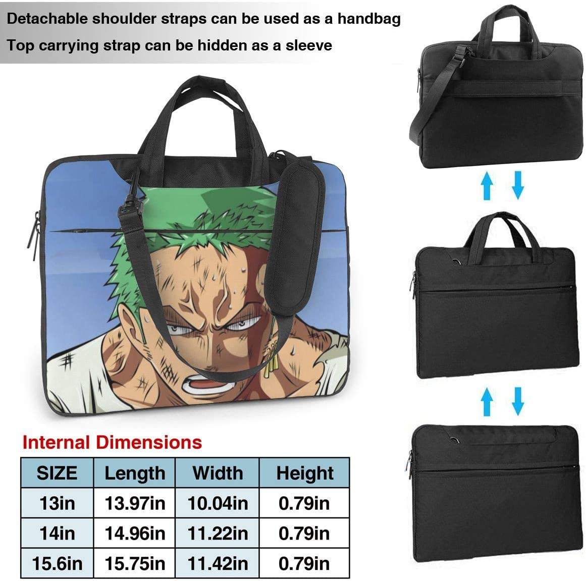 Funnyy Roronoa Zoro Multifunctional Laptop Bag Portable One Shoulder Shockproof Backpack Black