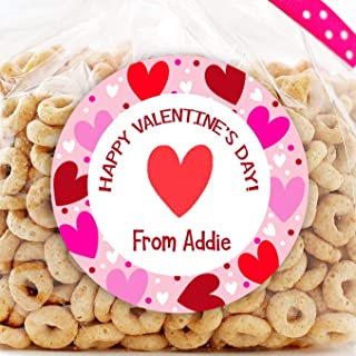 Happy Valentine's Day Personalized Stickers - Girls Valentine Favor Stickers - Valentine's Day Treat Bags - Sheet of 12 or 24