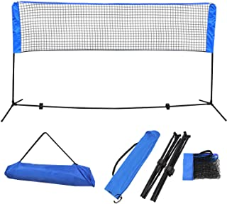 Badminton Net Set - Net for Tennis, Soccer Tennis, Pickleball, Kids Volleyball - Easy Setup Nylon Sports Net with Poles - for Court, Beach and Driveway