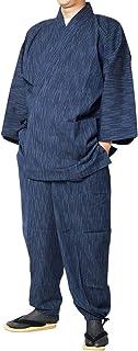 作務衣 日本製 久留米絣織作務衣(さむえ) 縞柄3771(紺・茶・緑)S~3L