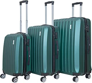 """3 Pcs of Luggage Set Full ABS Suitcases Silence Spinner Wheels Handle Safe Combination Lock Push-Button, Deep Green, 22"""" 2..."""