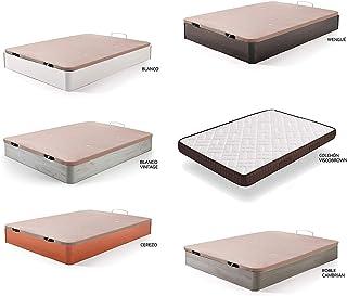 comprar comparacion HOGAR24 ES Cama Completa - Colchón Viscobrown Reversible + Canape Abatible de Madera Color Blanco, 135x190 cm