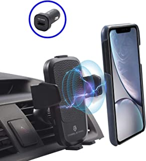 Cobble Pro 10W Wireless Fast Charge Car Mount, Leather Design Air Vent Phone Holder Compatible with S10/S10+/S10e/S9/iPhone 11/11 Pro/11 Pro Max/X Xs Max XR 8 Qi Enabled Devices, w/QC 3.0 Car Charger