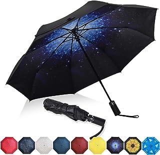 Ossian Parapluie pliable compact et l/éger 100 cm pliable r/ésistant /à leau et au vent Mini parasol de voyage avec sangle de poignet et housse pour soleil et pluie