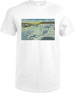 Niagara Falls, New York - Goat Island View of American Falls in Winter 16874 (Premium White T-Shirt Medium)