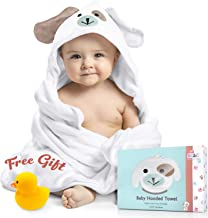 Baby Hooded Towel 100% Organic Bamboo Cotton. Super Absorbent, for Boys and Girls. Super Soft, X-Large, 35 x 35 inches. Perfect Baby Shower Gift with Bonus Washcloth and Greeting Card (White-Puppy)