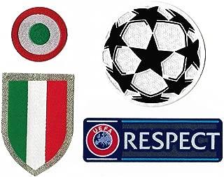 Juventus 2017-2018 Uefa Champions League Soccer Patches Scudetto, Coppa Italia, Star Ball, Respect Football Badge Set