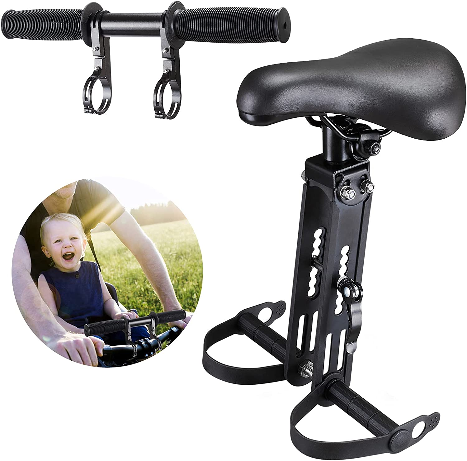 AZSPLS Child Bike Seat, Detachable Front Mounted Child Bicycle Seats with Foot Pedals, Kids MTB Child Seat and Handlebar Accessory Combo Pack Compatible with Adult Mountain Bike