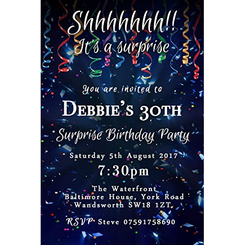 Surprise Confetti Party Invitations Any Age Personalised Birthday Invites Envelopes