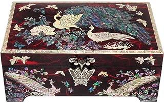 Nacreh Wooden Trinket Jewelry Box Organizer Mother of Pearl Inlaid Peacock Design for Woman Keepsake Treasure Chest Box