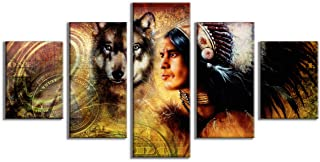Yatsen Bridge One Dollar Collage Indian Man Warrior Wolf Painting Canvas Printed Wall Artwork 5 Pieces/Panel Wall Decor Indoor Stretched Ready to Hang(60''W x 32''H)