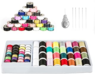 QUARKACE Mini Sewing Machine Thread, 60 Pieces Sewing Thread Kit Including Threaded Bobbins and Spools, Mixed Colors Machine Thread