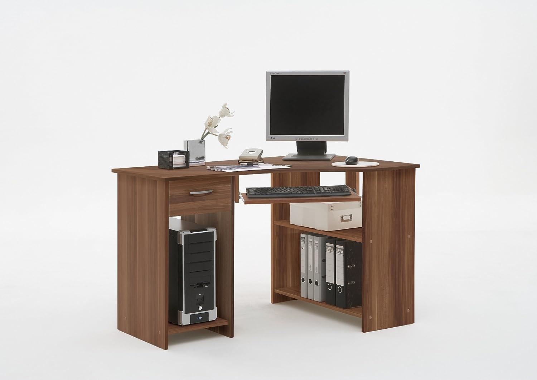 LHS SHARPE Walnut Colour Wood Corner Computer PC Work Station Table Desk Drawer Keyboard Shelf DMF (FLX)