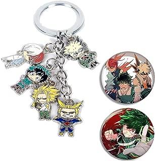 My Hero Academia Keychain Cute Anime Cosplay Deku Todoroki Alloy Key Ring, 2 Pack of My Hero Academia Button Pin Badge Included