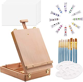 ART QIDOO Art Table Easel for Painting and Drawing, Adjustable Wood Easel Stand with Canvas, Acrylic Paint, Brushes and Pa...
