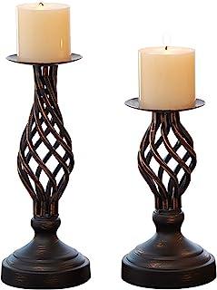"ZZKOKO Decorative Candle Holder Set of 2, Metal Pillar Romantic Candlesticks, Home Decor Candle Stand, 11.1"", 8.1"" High Ca..."