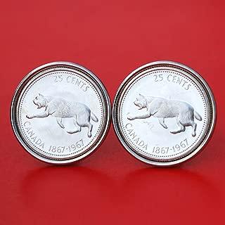 1967 Canada Lynx Striding 25 Cents 80% Silver Coins Cufflinks - Wildlife Animal
