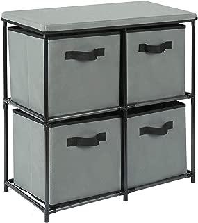 HOMEFORT Dresser Storage Tower,4-Drawer Storage Organizer,Multi-bin Drawer Cabinet with Metal Frame,Dustproof Fabric Bins for Bedroon,Closet,Entryway and Hallway,25
