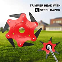WICHEMI Lawn Mower Trimmer Head – Manganese Steel Alloy 6 Teeth Grass Cutter Head,..